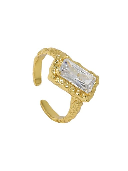 18K gold [size 13] 925 Sterling Silver Glass Stone Geometric Vintage Band Ring